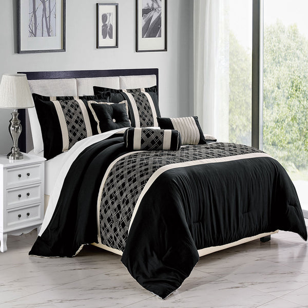 6PC Iron Gate Comforter Set Iron Gate-Ivory/Black Queen Size, Comforter, Pillow Shams, Breakfast Pillow, Cushion and Neckroll