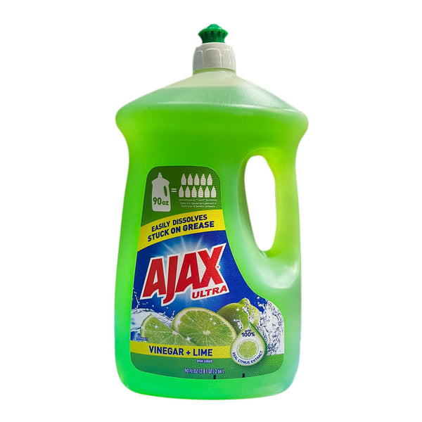Ajax Ultra Triple Action Vinegar + Lime Liquid Dish Soap, 90FL. OZ(2.81 QT) 2.66L
