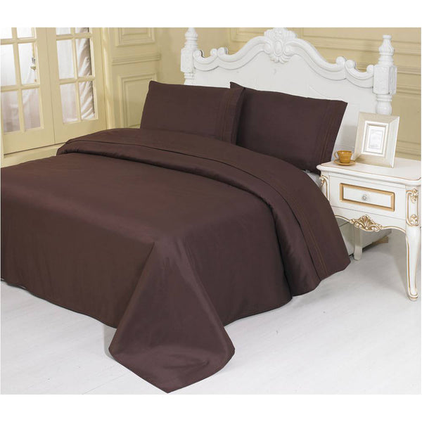 2100 Series Azizeh's Linen Brown With Pillow Case, Flat Sheet, and Fitted Sheet