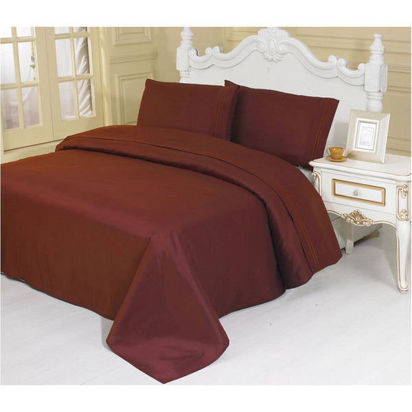 2100 Series Azizeh's Linen Burgundy With Pillow Case, Flat Sheet, and Fitted Sheet