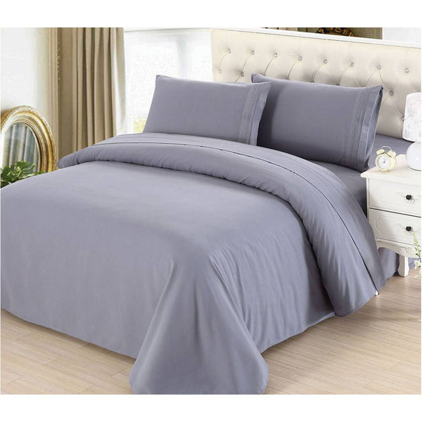 2100 Series Azizeh's Linen Grey With Pillow Case, Flat Sheet, and Fitted Sheet