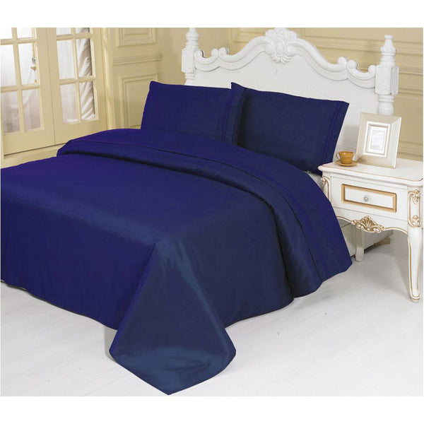 2100 Series Azizeh's Linen Navy With Pillow Case, Flat Sheet, and Fitted Sheet