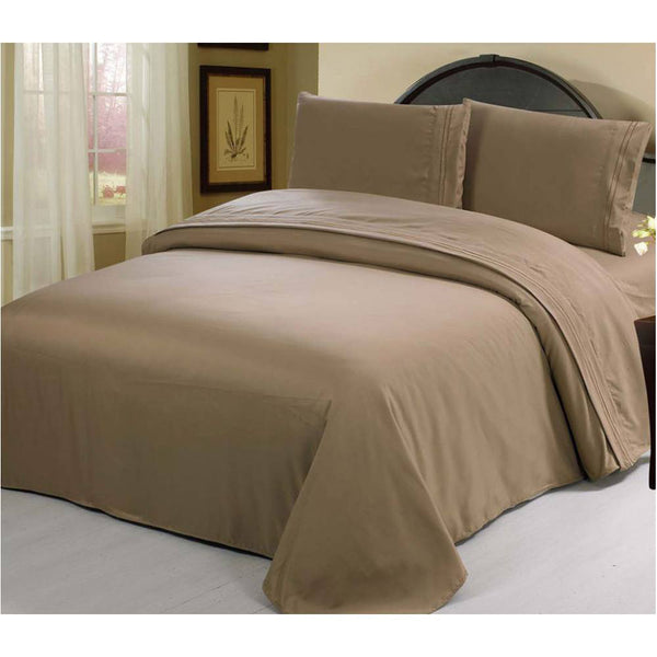 2100 Series Azizeh's Linen Taupe With Pillow Case, Flat Sheet, and Fitted Sheet