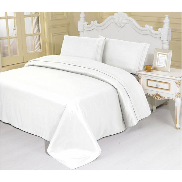 2100 Series Azizeh's Linen White With Pillow Case, Flat Sheet, and Fitted Sheet