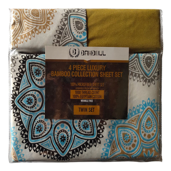 Solid & Printed Bamboo Sheet Set - Bamboo 11 With Flat Sheet, Fitted Sheet and Standart Pillowcase