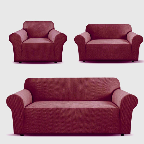 3 Piece Estella Sofa Cover - Burgundy