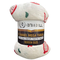 Flannel Mega Throw Blanket, Plush and Cozy, Supersoft, Travel Size and Reversible.