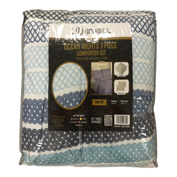 3PC Ocean Nights Comforter Set NL 10348-12 / Printed Design