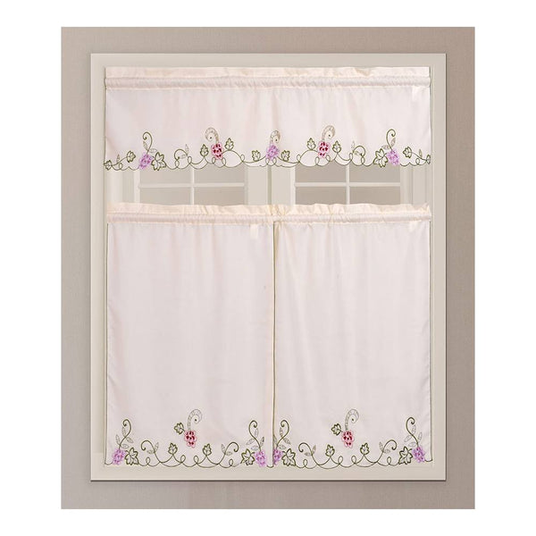"3PC Kitchen Curtain - ZC6020 Beige With 58""x14"" Valance and 30""x36"" Tiers"