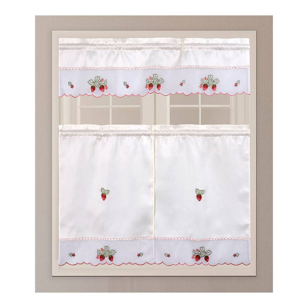 "3PC Kitchen Curtain - ZCA64 With 58""x14"" Valance and 30""x36"" Tiers"