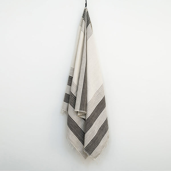 Riite Hand Woven Towel, White with Grey Stripes thick and thin - Towel Collection - Sera Helsinki  - Finland - North America - Canada - USA