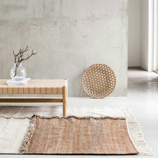 Sera Helsinki, Finnish designed hand-made rugs from Ethiopia, fair-trade, ethically made.  Available exclusively in  North America, Canada and USA, through Studio Nordhaven. E-1027 Hand Woven Rug - White + Brown