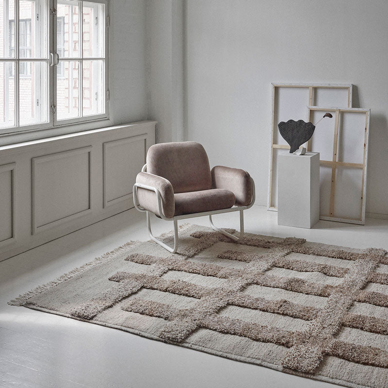 Sera Helsinki, Finnish designed hand-made rugs from Ethiopia, fair-trade, ethically made.  Available exclusively in  North America, Canada and USA, through Studio Nordhaven. Valli Knotted Wool Rug - White + Beige - Saaristo Collection