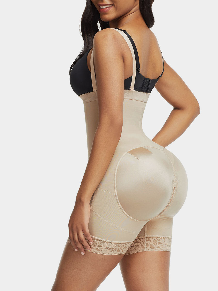 Open Bust Body Shaper With Side Zip