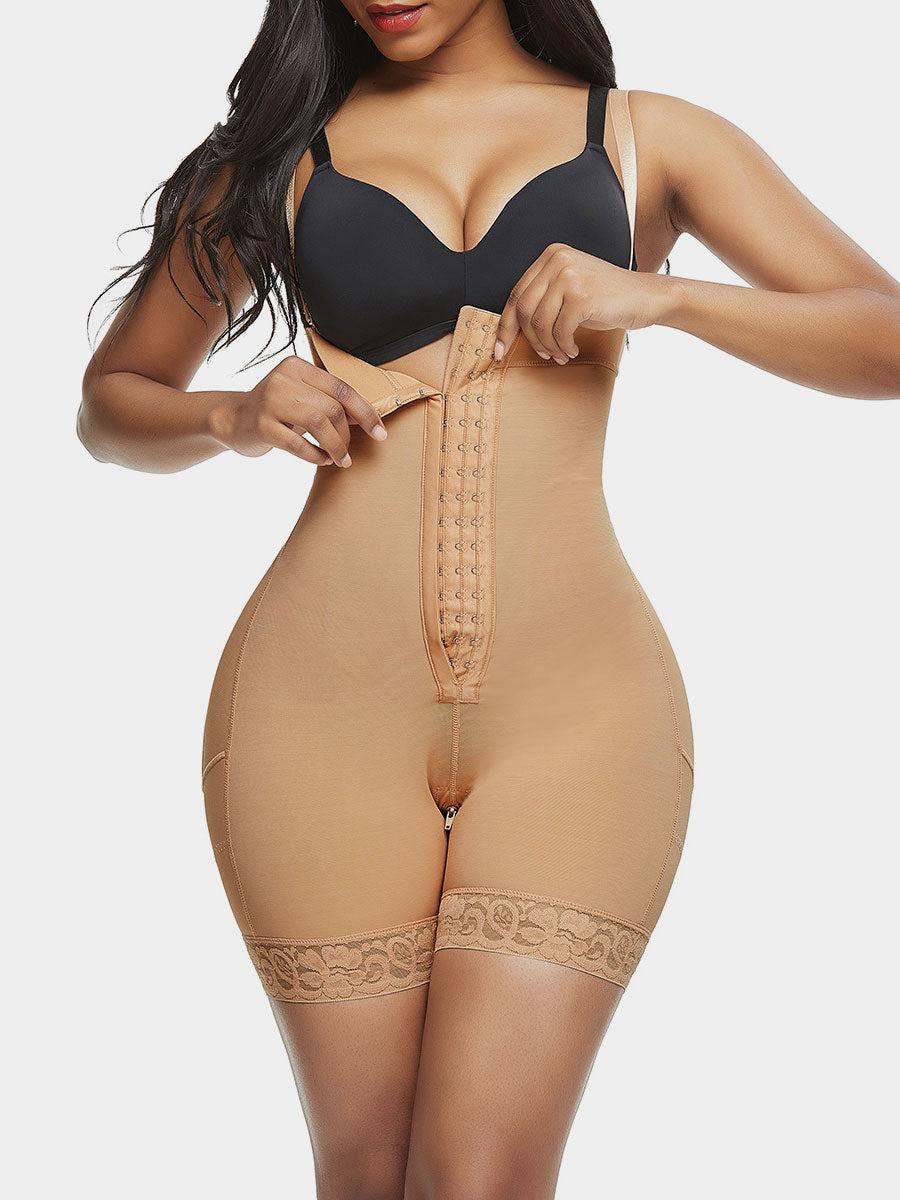 Post-Surgical Mid Thigh Body Shapewear Open Bust