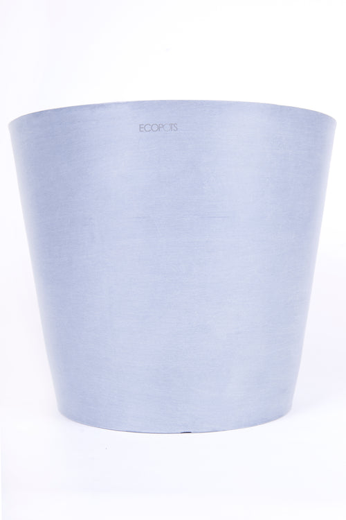 Greenery Australia, The Amsterdam flowerpot is a modern classic round pot made from 80% recycled plastic and 20% natural stone. They are lightweight and UV/Frost protected. These pots are durable and most importantly sustainable.  The pot comes with a removable plug in the base for indoor use. The eco saucers are available for this range. Allows you to water the plant through the roots by adding water to the saucer.Product Dimensions. Outside Diameter 20cm. Inside diameter 18cm. Height 17.5cm