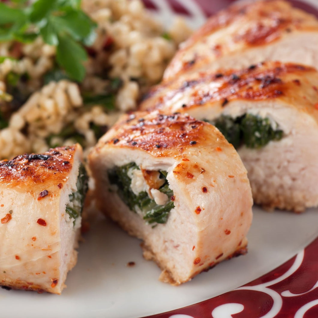 Stuffed chicken breast Asparagues, feta and spinach