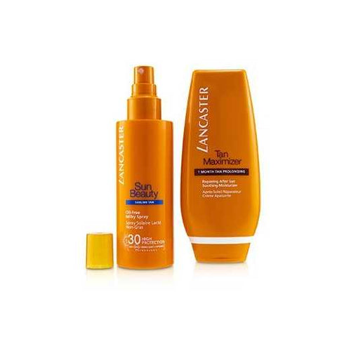 Your Suncare Routine For A Legendary Goldan Tan Set: Oil-Free Milky Spray SPF 30 150ml + Tan Maximizer After Sun 125ml  2pcs