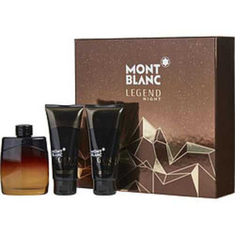 Mont Blanc Legend Night Eau De Parfum Spray 3.3 Oz and Aftershave Balm 3.3 Oz and All Over Shower Gel 3.3 Oz For Men