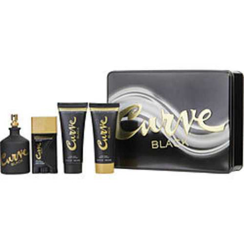 Curve Black Cologne Spray 4.2 Oz and After Shave Balm 3.4 Oz and Shower Gel 3.4 Oz and Deodorant Stick 1.7 Oz For Men