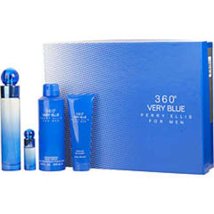 Perry Ellis 360 Very Blue Edt Spray 3.4 Oz and Body Spray 6.8 Oz and Shower Gel 3 Oz and Edt Spray .25 Oz Mini For Men