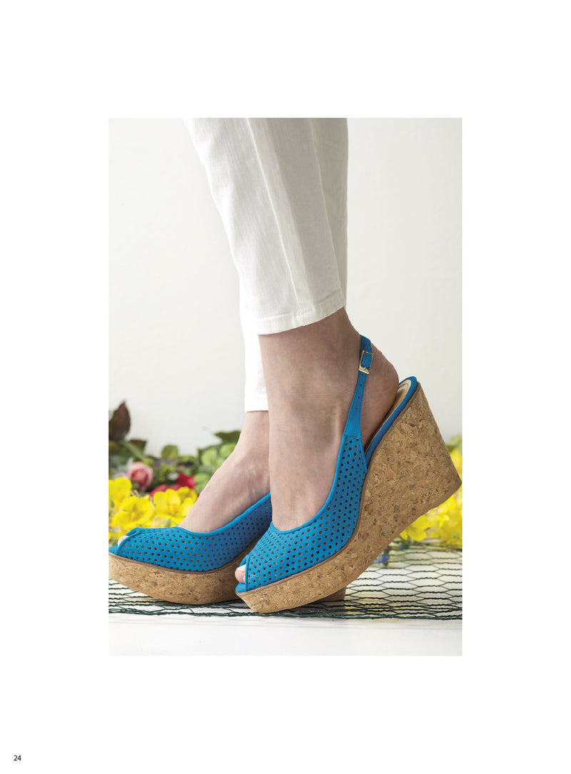Winona Wedge - Blue perforated