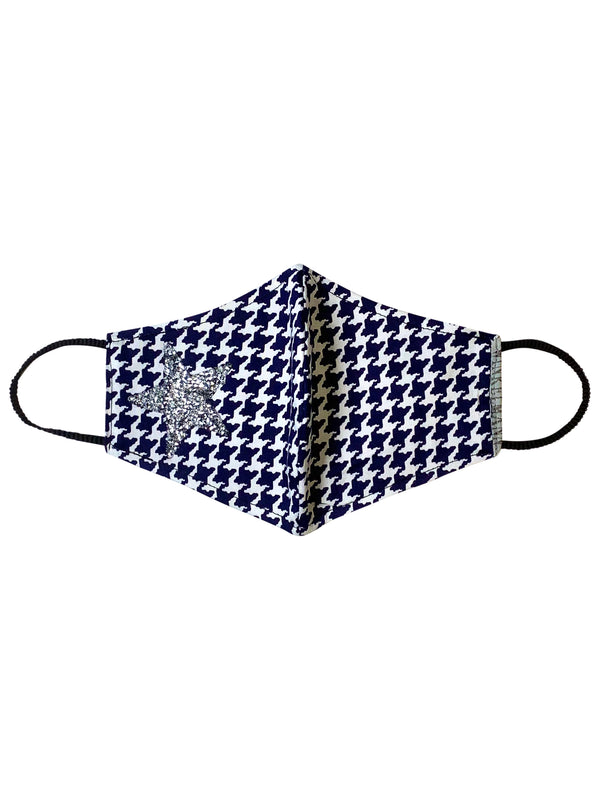 Face Mask : Navy Houndstooth with Star