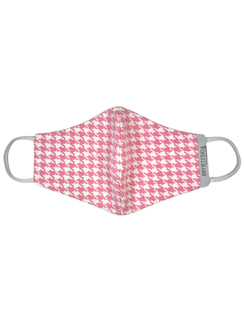 Face Mask : Pink Houndstooth