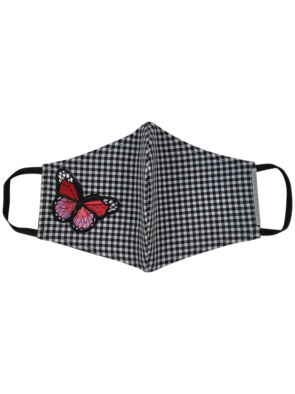 Face Mask : Black Gingham with butterfly