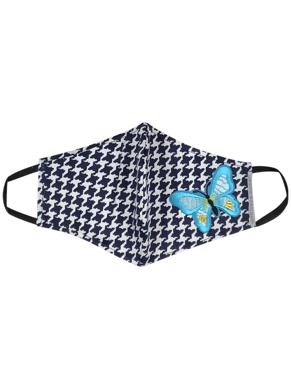 Face Mask : Navy houndstooth with butterfly