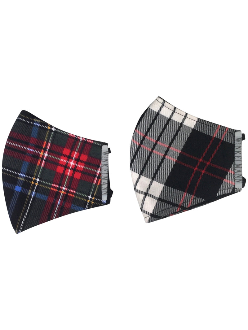 Face Mask: Black & White Tartan