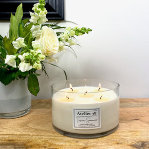 Soy wax Classic Candle by Atelier 38,  range of scents multi-wick candles, luxury candles. Soy Wax, cotton wicks, natural candles, Vegan Friendly. Interior designed, cleaner burning, beautiful scented candles