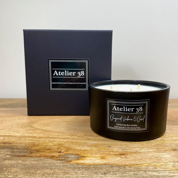 Bergamot, Verbena & Basil, Large, Contemporary Black - Atelier 38