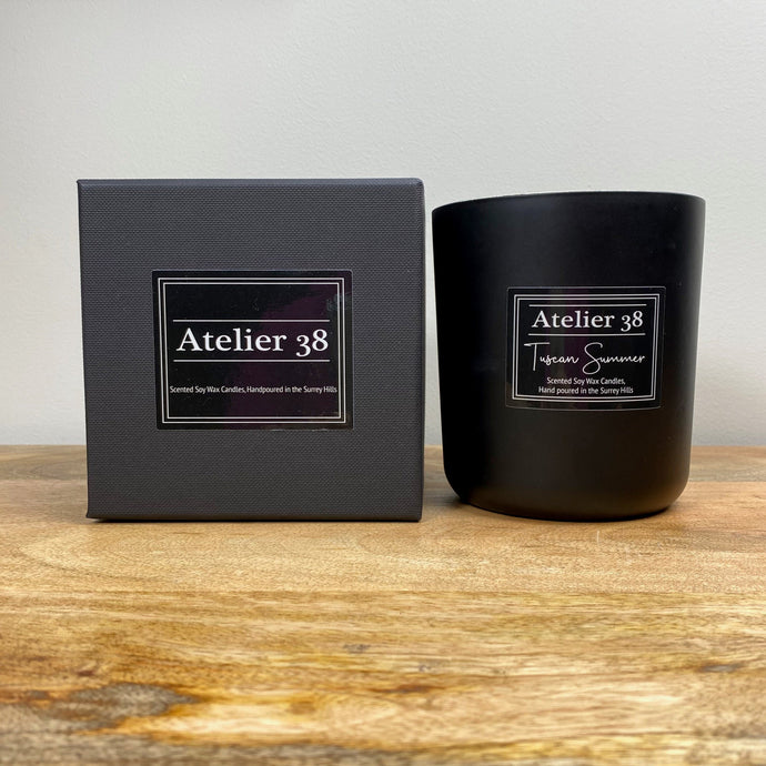 Atelier 38, Tuscan Summer, XL, Multiwick, Contemporary Black, Luxury Soy Wax Candle