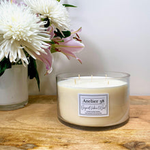 Load image into Gallery viewer, Atelier 38. Extra Large, Multi-wick, Clear Glass Candle. Bergamot Verbena and Basil. Luxury Soy Wax Candle.