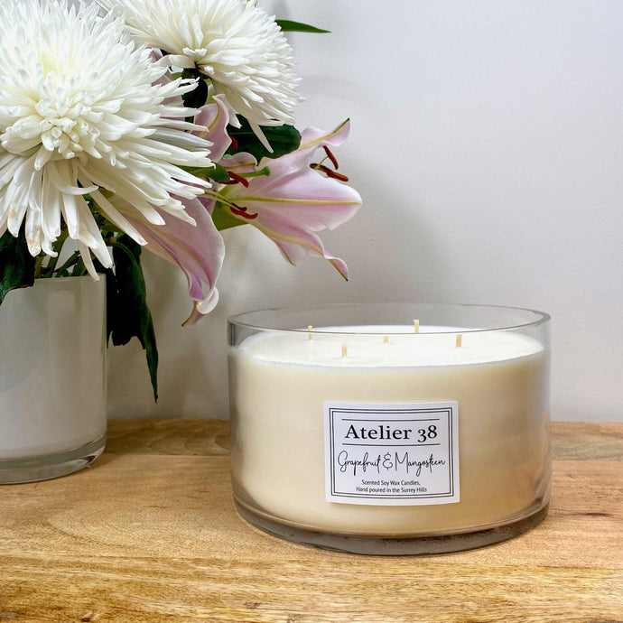 Atelier 38. Extra Large, Multi-wick, Clear Glass Candle. Grapefruit and Mangosteen. Luxury Soy Wax Candle.
