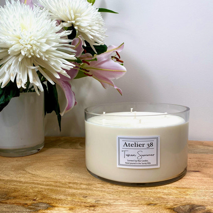 Atelier 38. Extra Large, Multi-wick, Clear Glass Candle. Tuscan Summer. Luxury Soy Wax Candle.