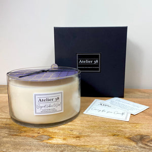 Atelier 38. Extra Large, Multi-wick, Clear Glass Candle. Bergamot Verbena and Basil. Luxury Soy Wax Candle.