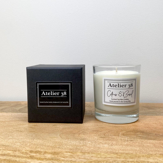 Atelier 38. Medium,  Single wick, Clear Glass Candle. Citrus & Basil. Luxury Soy Wax Candle.