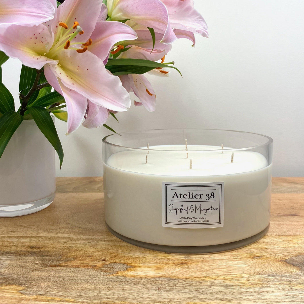 Atelier 38 Luxury Soy Wax Candles. Grapefruit & Mangosteen, Maxi Deluxe - 7 wick Bowl - 1.7kg, approx burn time of 100 hours (Height 10cm, Diameter 20cm)