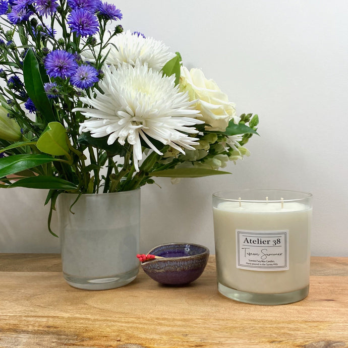Atelier 38, Tuscan Summer, Signature Grande Soy Candle, Multiwick Candle