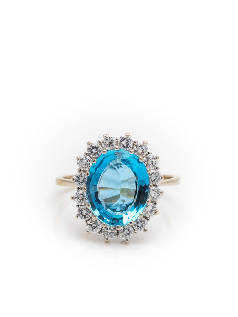 14k Weißgold Ring 3,36ct Aquamarin 16 Brillanten