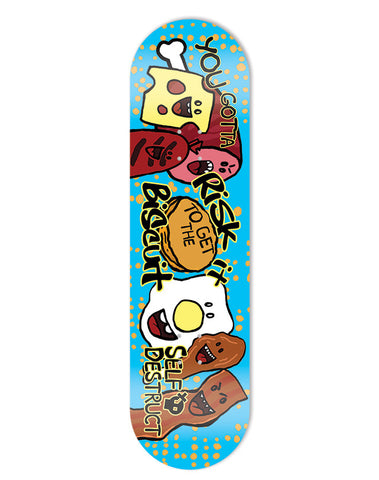 Risk It To Get The Biscuit - Skate Deck - Blue
