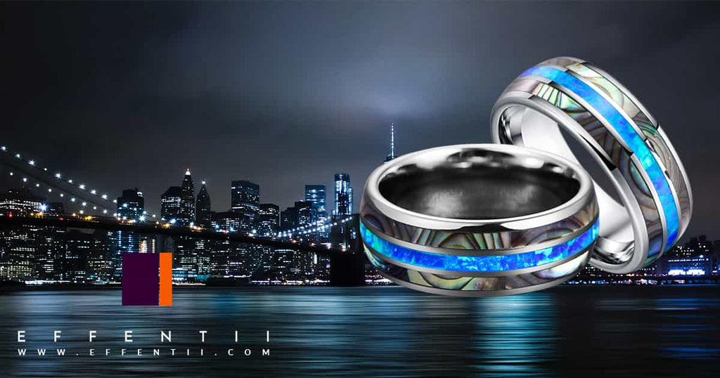 Effentii Blue Abal Shell Ring for Men