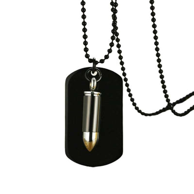 Effentii Dog Tag Hollow Point Bullet Necklace for Men