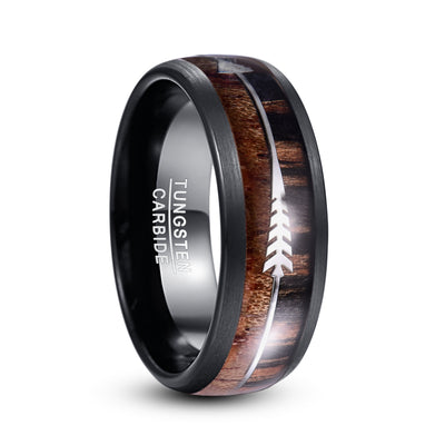 Silver Arrow Hawaiian Koa Ring For Men