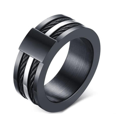 Black Thor Cable Arch Ring for Men