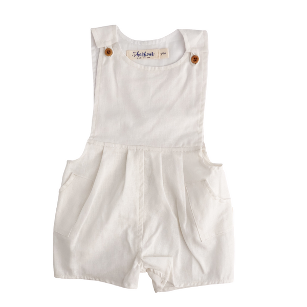 Button Front Pocket Playsuit in Ivory