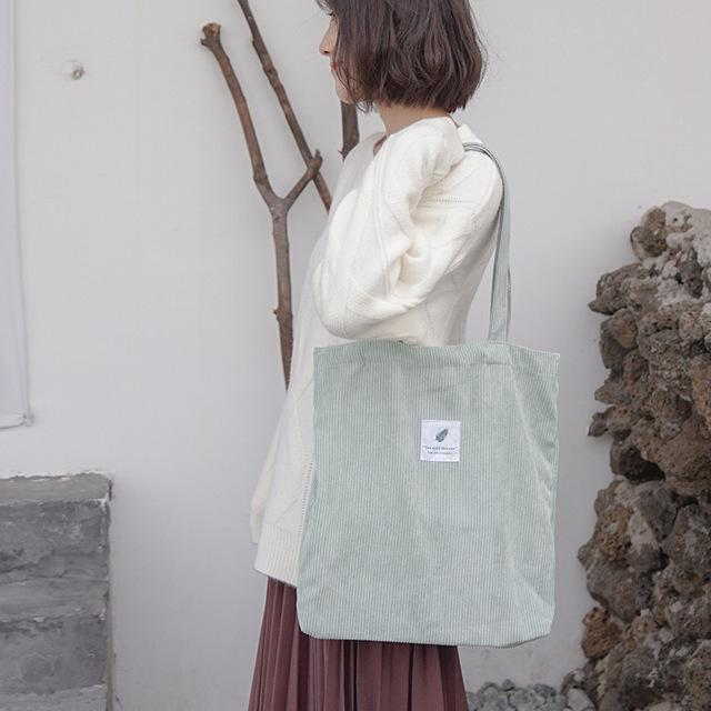 Light Green Corduroy Tote