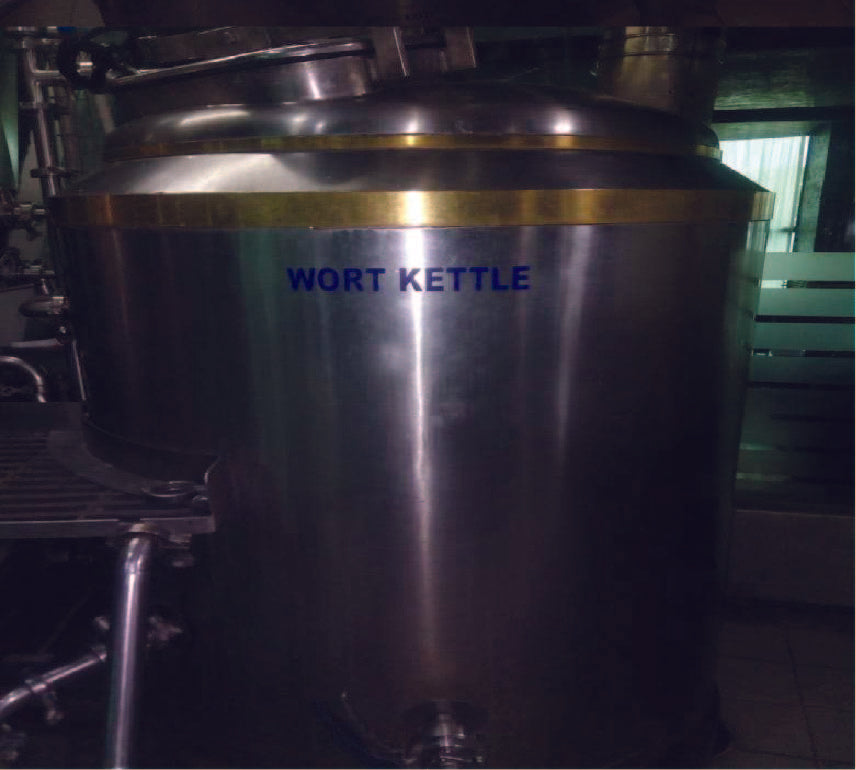 STAINLESS STEEL WORT KETTLE 550LTRS WITH COPPER BANDS (GAS FIRED)